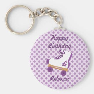 La púrpura puntea llavero del cumpleaños del patín