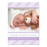 La púrpura raya invitaciones del nacimiento de la invitación 13,9 x 19,0 cm
