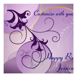 La púrpura remolina bandera del cumpleaños poster