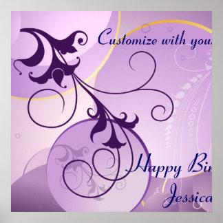 La púrpura remolina bandera del cumpleaños póster