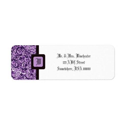 La púrpura remolina con monograma etiquetas de remite