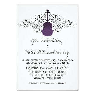 La púrpura remolina invitación del boda de la invitación 12,7 x 17,8 cm