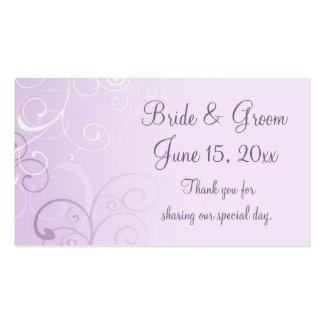 La púrpura remolina las etiquetas del favor del tarjetas de visita