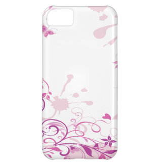 La púrpura remolina las flores carcasa iPhone 5C