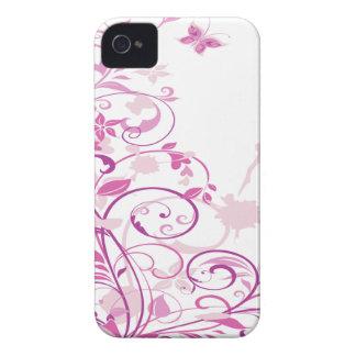 La púrpura remolina las flores carcasa para iPhone 4