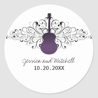 La púrpura remolina los pegatinas del boda de la etiqueta redonda