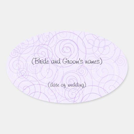La púrpura remolina pegatina del boda