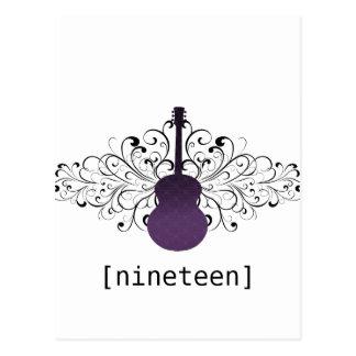 La púrpura remolina postal de la tabla de la guita