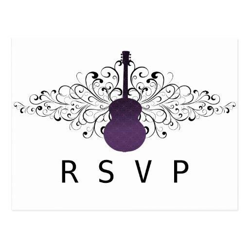 La púrpura remolina postal de RSVP de la guitarra
