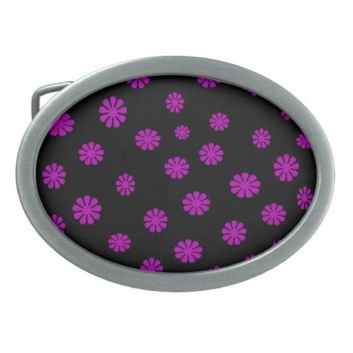 La púrpura retra florece la hebilla del cinturón hebillas de cinturón ovales