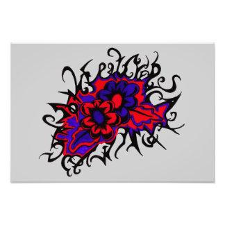 La púrpura roja de las flores invertida colorea el arte fotográfico