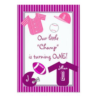 La púrpura rosada de los chicas se divierte la invitación 12,7 x 17,8 cm