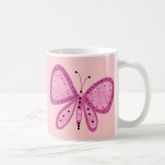 La púrpura rosada del niño de los chicas de la taza básica blanca
