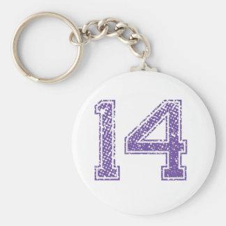 La púrpura se divierte el número 14.png de Jerzee Llavero Personalizado