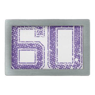 La púrpura se divierte el número 60.png de Jerzee Hebillas Cinturon Rectangulares