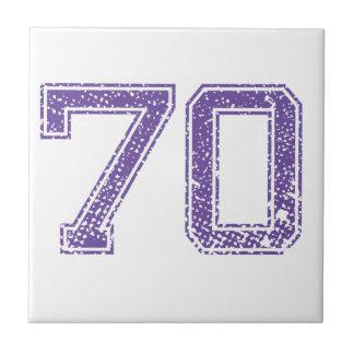La púrpura se divierte el número 70.png de Jerzee Azulejo Cuadrado Pequeño