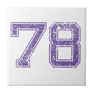La púrpura se divierte el número 78.png de Jerzee Azulejo Cuadrado Pequeño