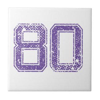 La púrpura se divierte el número 80.png de Jerzee Azulejo Cuadrado Pequeño