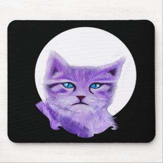 La púrpura única, lila pintó el gato con los ojos mousepad