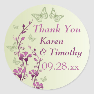 La púrpura, verde floral, mariposas le agradece pegatina redonda