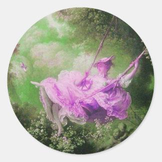 La púrpura violeta del verde del OSCILACIÓN Pegatinas Redondas