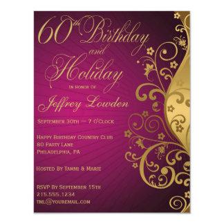 La púrpura y cumpleaños y el día de fiesta del oro invitación 10,8 x 13,9 cm