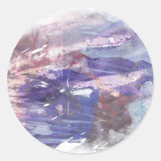 La púrpura y el azul se descoloraron impresión etiqueta redonda