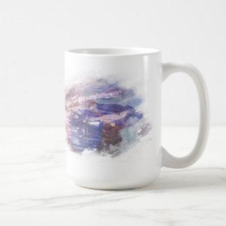 La púrpura y el azul se descoloraron impresión ras taza de café