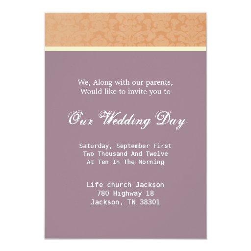 """La púrpura y el boda del vintage de Brown invita Invitación 5"""" X 7"""""""