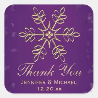 La púrpura y el copo de nieve del oro le agradecen pegatina cuadrada