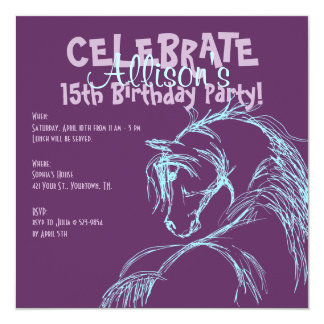 """La púrpura y el cumpleaños del bosquejo de la invitación 5.25"""" x 5.25"""""""