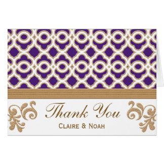 La púrpura y el marroquí del oro le agradecen invi tarjeta pequeña
