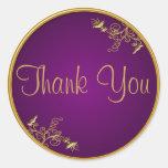 "La púrpura y el oro 1,5"" diámetro le agradecen pegatina redonda"
