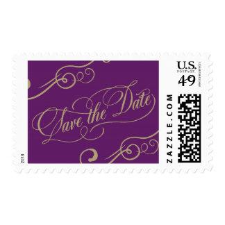 La púrpura y el oro ahorran la fecha estampilla