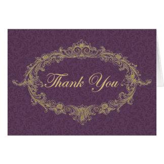 La púrpura y el oro le agradecen cardar tarjeta pequeña