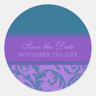 La púrpura y el trullo ahorran el sello del sobre pegatina redonda