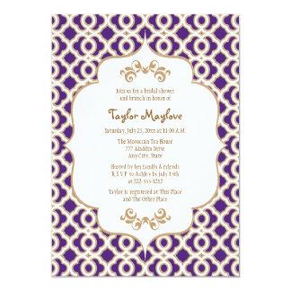 """La púrpura y la ducha nupcial marroquí del oro invitación 5"""" x 7"""""""