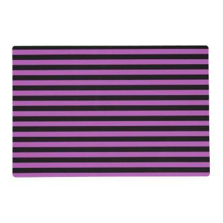 La púrpura y las rayas negras laminaron Placemat Tapete Individual