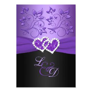 La púrpura y los corazones unidos negro cones invitacion personal