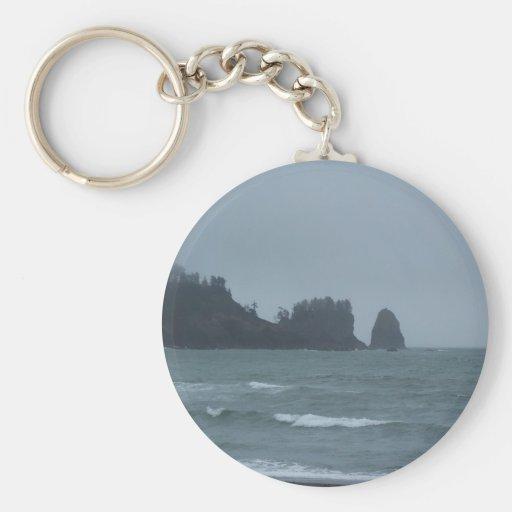 La Push Beach, WA Basic Round Button Keychain