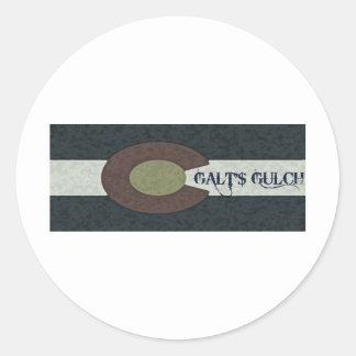 La quebrada de Galt - diseño combinado blanco y Pegatina Redonda
