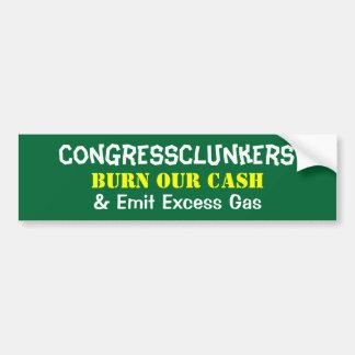 La quemadura de CongressClunkers nuestro efectivo  Pegatina Para Auto