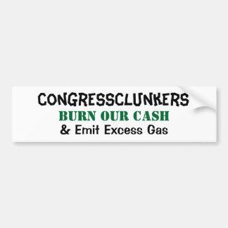 La quemadura de CongressClunkers nuestro efectivo  Pegatina De Parachoque