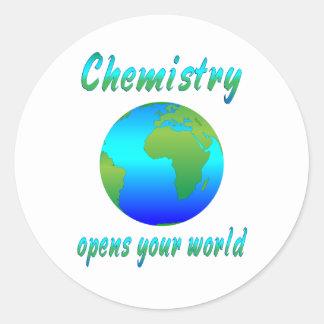 La química abre los mundos pegatinas redondas