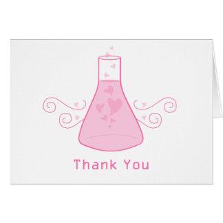 La química dulce rosada le agradece cardar tarjeta pequeña