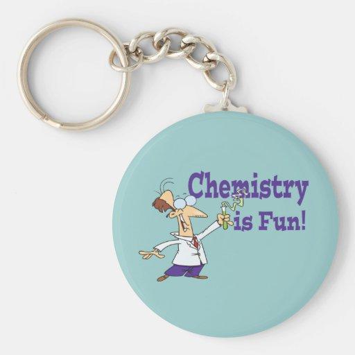 La química es diversión llavero redondo tipo pin