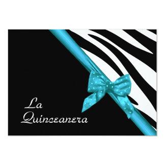 La Quinceanera Zebra and Ribbon Blue 5x7 Paper Invitation Card