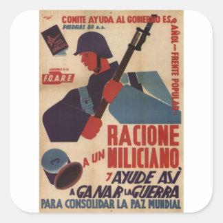 La ración a un miliciano es poster del pegatina cuadrada