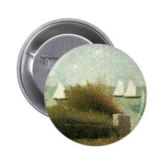 La Rade de Grandcamp by Seurat Vintage Pointillism Pin