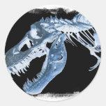 La radiografía azul y negra de T-Rex deshuesa la f Etiqueta Redonda